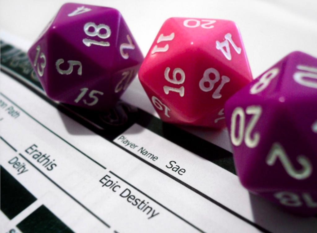 An image of three d20 on a character sheet for a table top RPG